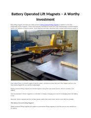 Battery Operated Lift Magnets – A Worthy Investment.pptx