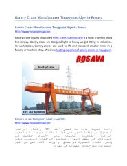 Gantry Crane Manufacturer Touggourt Algeria Rosava.pdf