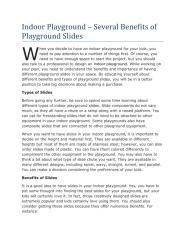 Indoor Playground – Several Benefits of Playground Slides.pdf